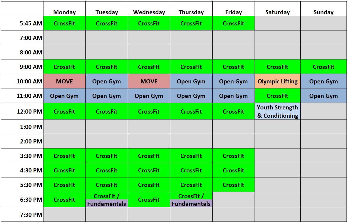 schedule rates crossfit inguz